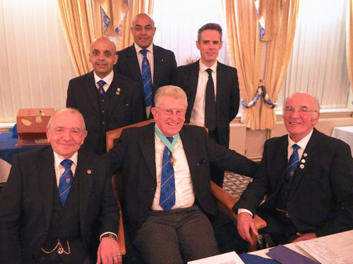 Martyn Jones (centre) surrounded by, from left to right, are; Keith Beardmore, Umesh Dholakia, Martin Linton, David Edwards and Sheldon Rawstrone.