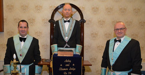 Junior warden Mark Briggs (left) with Kevin and senior warden Rob Winn.