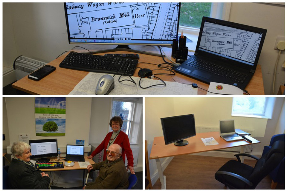 Examples of the equipment available with help from the WLCF, including a large key board and magnifying mouse.