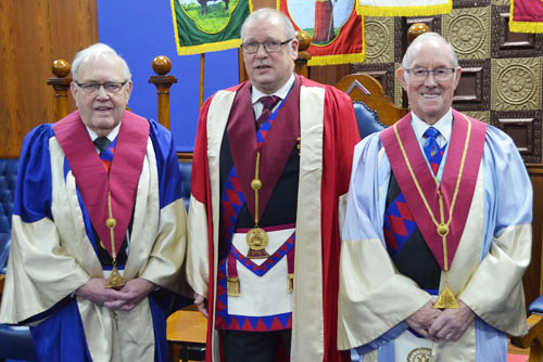Pictured from left to right, are: Ernest Lloyd (second principal), Mal Walters (first principal) and Neil Pearson (third principal).