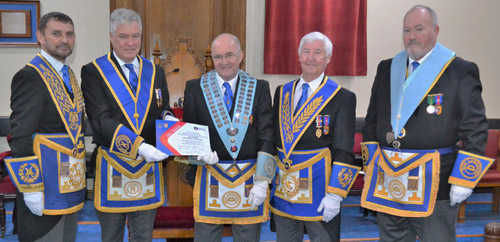 Pictured with the certificate for Vice Patron of the MCF 2021 Festival from left to right, are: Dave Thomas, Simon Hanson, Alan Long, Jim Wilson and Graham Earl.