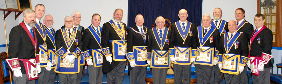 Pictured centre from left to right, are: Robert Wright, Derek Finney and David Sullivan, with the grand and acting Provincial grand officers.