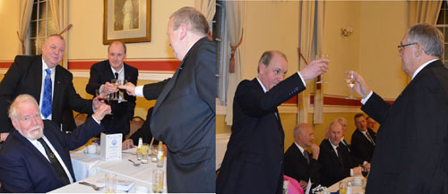 Picture left: David (third from the left) taking wine with his personal guests. Picture right: David (left) being toasted by Gwilym during the Master's song.