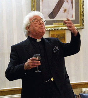 Godfrey Hirst in full flow during the master's song.
