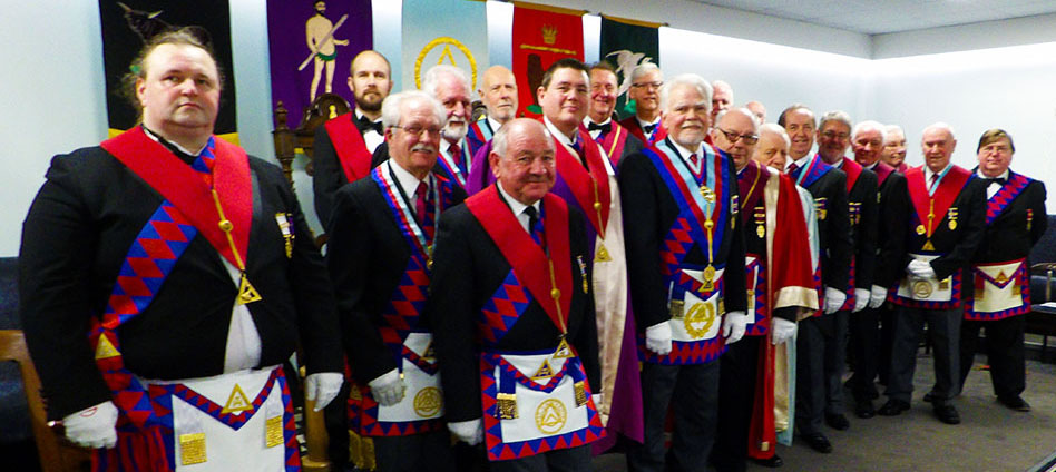 David Randerson (centre) with the companions of Blackpool Chapter of Fellowship.