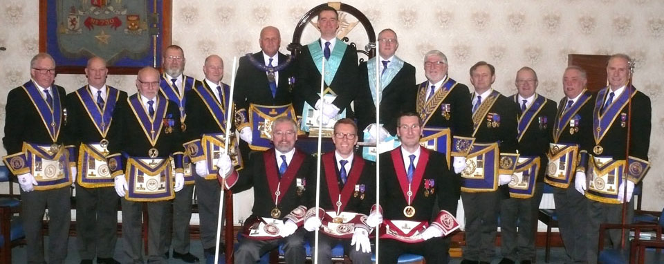 Chris Jones with Assistant Provincial Grand Master David Winder and grand officers and acting Provincial grand officers.