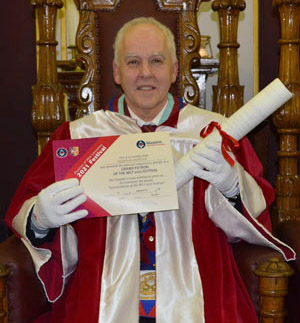 David Price with the Provincial Grand Charter and the Patronage certificate.