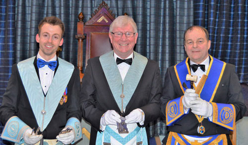 Pictured from left to right, are the brethren who presented the working tools: Michael Lewis Threlfall, Hal Hamer and Bill Holland.