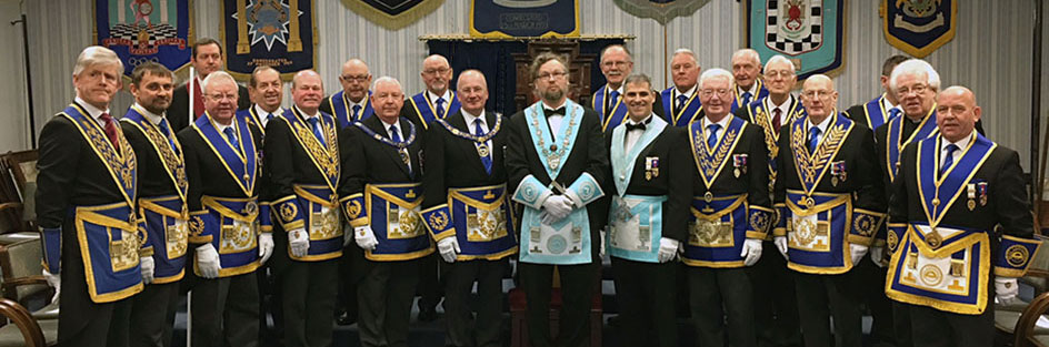 A galaxy of grand and acting Provincial officers, together with David Edwards and Paul Darlington.