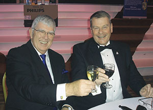 Provincial Grand Master Tony Harrison and Bob Wareham, the master of Pro Patria Lodge.
