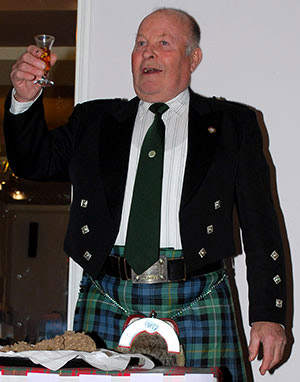 Tom Croll, toasting the Haggis during the address.