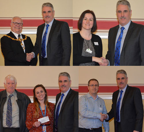 Pictured top left, are: Cllr Les Morgan with Andy Barton. Pictured top right, are: Rachael Ingham with Andy Barton. Pictured bottom left, are: Norman Pritchard, Ryhanna Morris and Andy Barton. Pictured bottom right, are: Darren Roberts with Andy Barton.