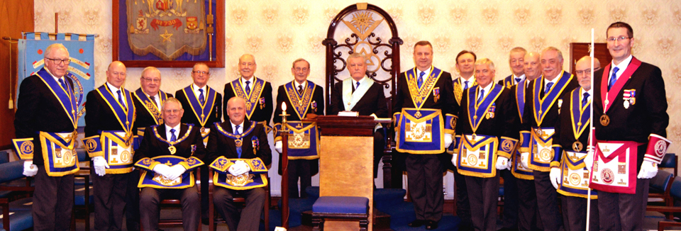The newly installed master with all the grand and acting Provincial grand officers.