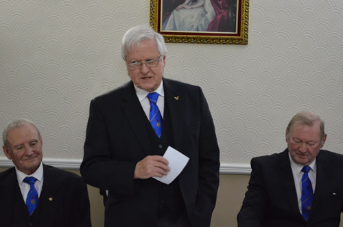 Brian responding to his toast accompanied by Dave Walmsley (left) and Harold Smith (right).