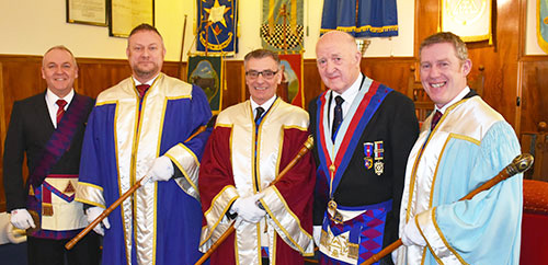 Pictured from left to right, are: Graham Benson, Scott Deakin, Stuart Dickinson, Rowly Saunders and Chris Gray.