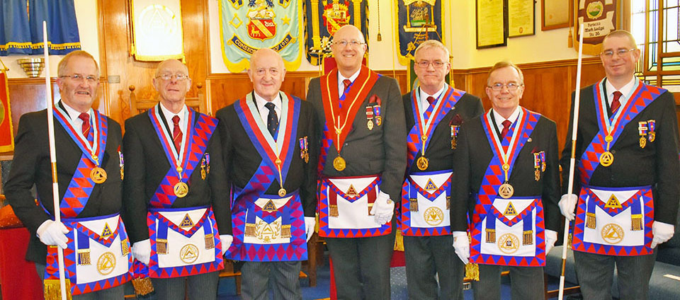 Pictured from left to right, are: Dennis Laird, Peter Quirk, Rowly Saunders, group vice chairman Gary Rogerson, Phil Preston, Paul Thompson and Steve McClintock.