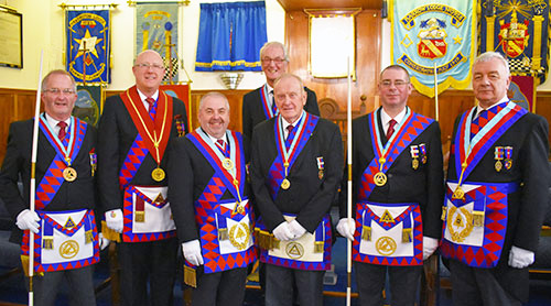 Pictured from left to right, are: Dennis Laird, Gary Rogerson, Chris Butterfield, Brian Davey, Brian Fallows, Steve McClintock and Barrie Crossley.