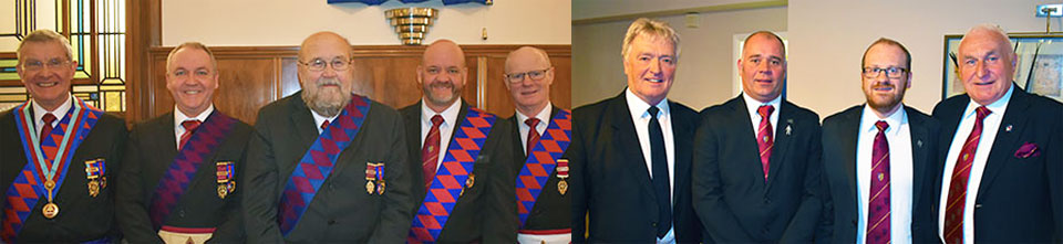 Pictured left from left to right, are: Visiting first principals Jim Richards, Graham Benson, Stuart Collins, Mike Benson and Jim Scott. Pictured right from left to right, are: Keran Stalker, Gordon Evans, Steve Renney and Richard Wilcock.