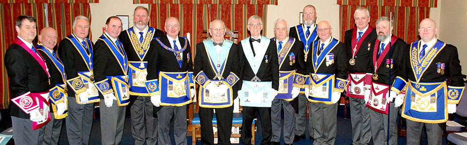 Robert Wright and Francis Aspinall (centre), with the grand and acting Provincial grand officers.