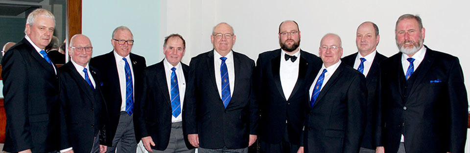 Pictured centre from left to right, are: Philip Gunning, Martyn Huyton-Berry and Robert Wright, with the grand and acting Provincial grand officers.