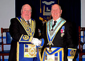 Peter Levick (left) congratulating Don Fraser on becoming WM.
