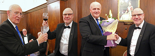 Pictured left: Kevin Ruffley (left) toasts John's health following the master's song. Pictured right: John (right) presents David with a bouquet of flowers for his wife Sue.