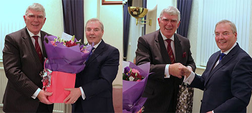 Pictured left: Tony receives a bouquet of flowers for his wife Maureen, Pictured right: Tony receives an appreciative libation for himself.