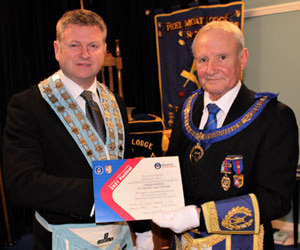 David Presents the Grand Patron Certificate to Nigel.