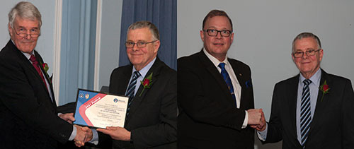 Pictured left: Group chairman Colin Jenkins (right) receives the MCF Grand Patron certificate from Paul Renton. Pictured right: Colin Jenkins thanks Alistair Sainter (left) for his donation of £11,000 from the Regalia Agency.