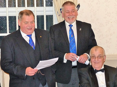Chris Eyres (left) responding to the toast to his health, watched by Bob Williams (centre) and John Horn.