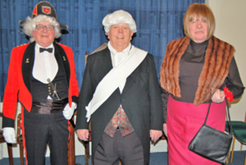 History in the making, pictured left to right, are: Peter Connolly (General Marquis de Lafayette), David Anderton (George Washington), Paul Shepard (Madame de Lafayette).