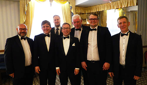 The 'light blue' officers of the lodge. Pictured from left to right, are: Neil Callaghan, Justin Burgoyne, John-Paul Lovie, Robert Marsden, Dave Cryer, Michael Sjollema and James Wilkes.