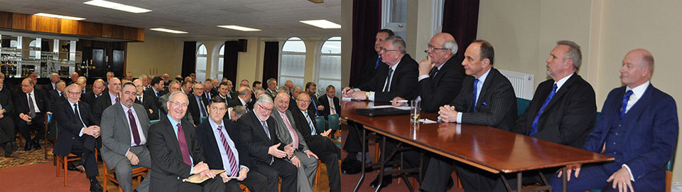 Pictured left: Members of the audience. Pictured right: From left to right, are: Peter Lockett, Stewart Seddon, Philip Gunning, Peter Taylor, David Asbridge and Peter Allen.
