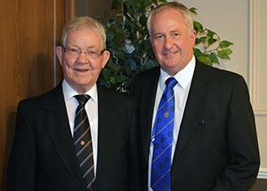 Jack (left) with his son Dean Fawcett.