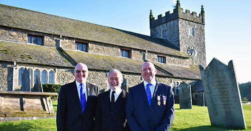 Pictured from left to right, are: David Grainger, Reg Walker and Geoff Biddulph in the churchyard of St Michael and All Angels Parish Church