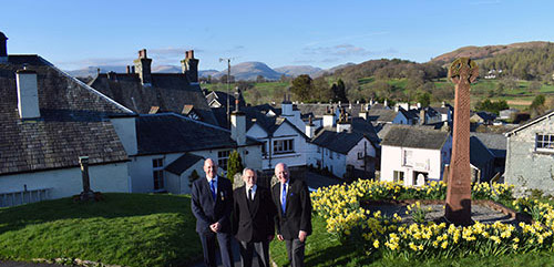 Pictured from left to right, are: Geoff Biddulph, Reg Walker and David Grainger in the glorious setting of Hawkshead.