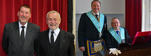 Pictured left: George Blenkarn (left) and Reg Walker. Pictured right: Andrew Thompson (left) and Paul Gregson.