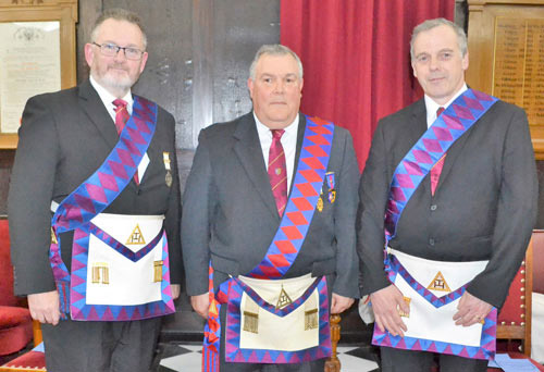 Pictured from left to right, are the companions who presented the robe addresses: Liam O'Leary, Larry Branyan and Stephen Nutter.