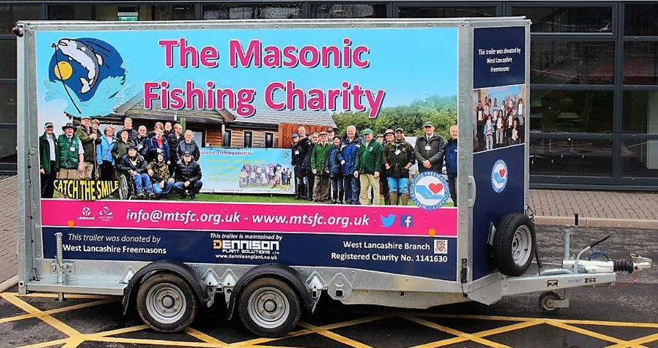 The newly 'wrapped' trailer for the Masonic Fishing Charity.