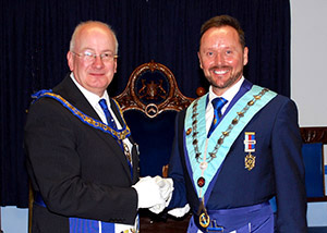 Robert Wright (left) congratulating Neil MacSymons on becoming the WM.