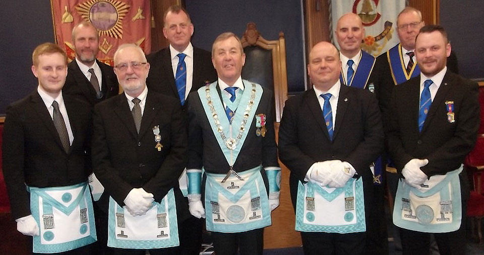 Lodge of Endeavour visitors thank Alan (centre) for his assistance in Anthony's third degree.