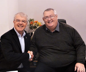 David Durling (left) welcomes Malcolm Lord.