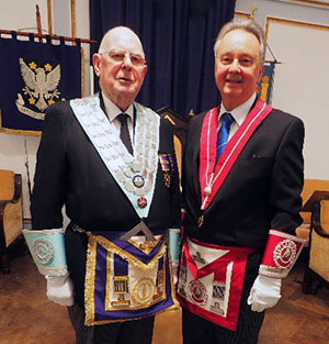 Brian Buckle (left) with Steven Carr, the lodge director of ceremonies.
