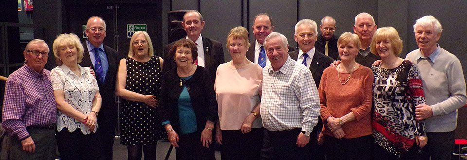 Robert Wright and Margy Robinson (third and fourth from the left) with the visiting Masonic group and Sefton OPERA members.