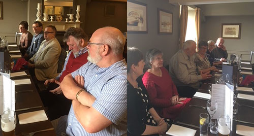 Club members, Hilda Swindlehurst, Adrian Dean, Mick Norris, Stuart Mason, Ralph Miller, Julie Miller, Linda Mason, Dennis Read, Barbara Norris, Elaine Dean and Bill Swindlehurst, meeting at The Mill.