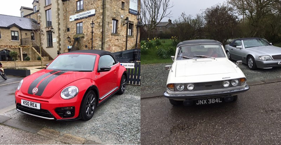 Left: The 'resplendent' VW Beetle Cabriolet. Right: A 'Classic' Triumph 2000.