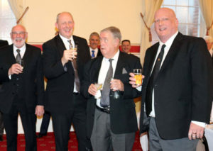 Paul Santus (left) toasted at the social board by Derek Houghton, Bill Hinchliffe and Paul Hankey.