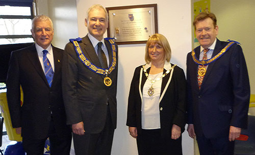 Pictured from left to right, are: Rob Oliver, Steven Blank, Councillor Karen Mundry and Kevin Poynton