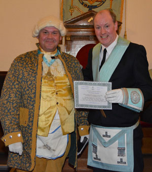 Pictured from left to right, are: Danny Wheatley in period costume and David Harrison (WM).
