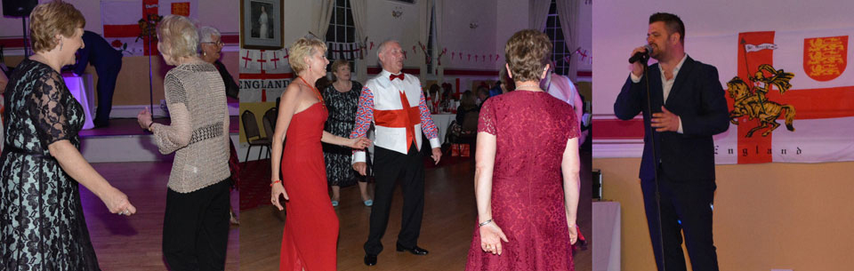 Dancing the night away to Peter Hill (far right).